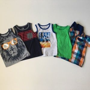 Boys 5t Bundle- 5 Tanks, 1 Button Down